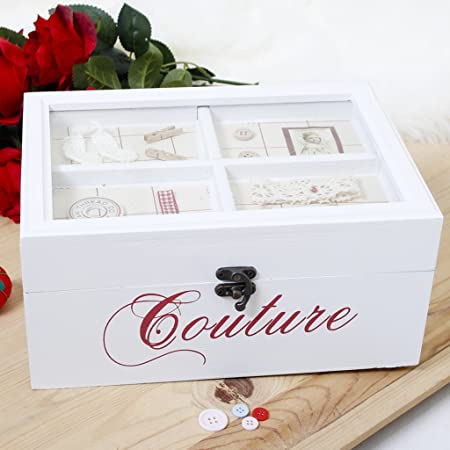 Anniversario Di Matrimonio In Francese.5th Anniversario Di Matrimonio Legno Bella Scatola Da Cucito In