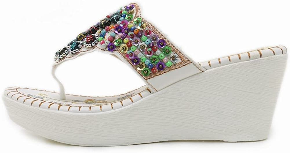 Latasa Womens Studded Slip on Wedge Flip Flops