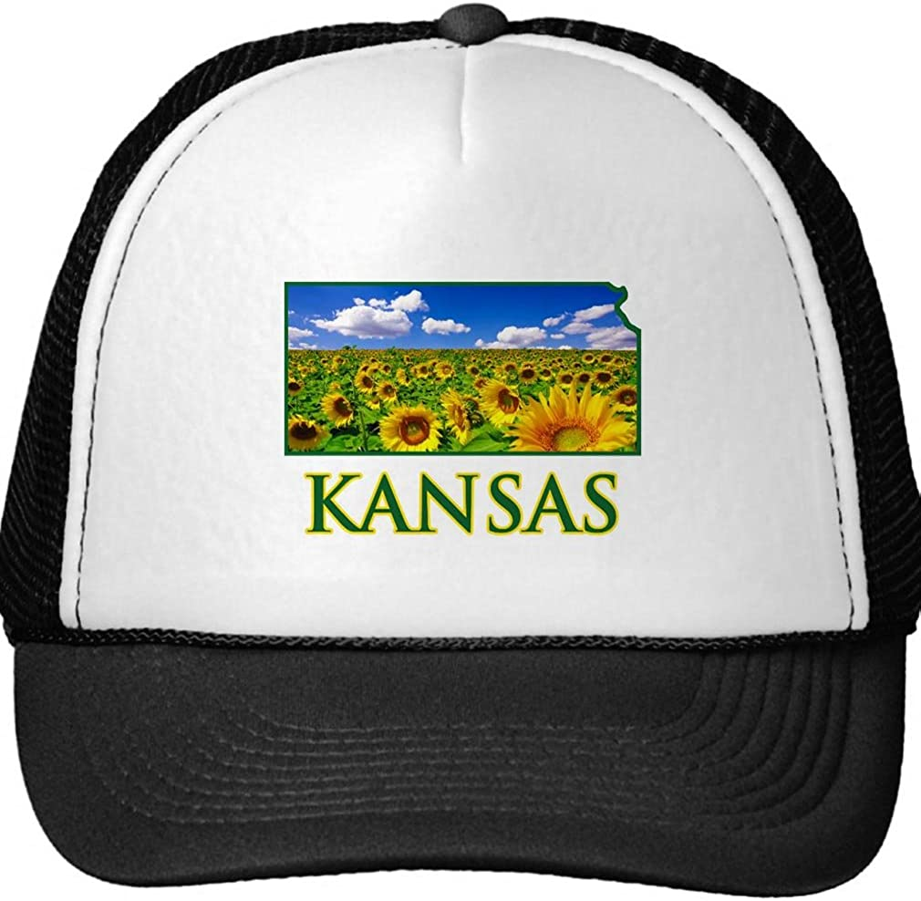 Kansas Sunflower Sky Trucker Hat Black