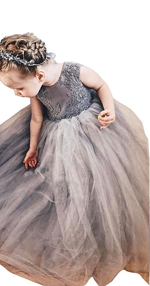 Banfvting Grey Ball Gown Flower Girl Dresses with Lace Bow