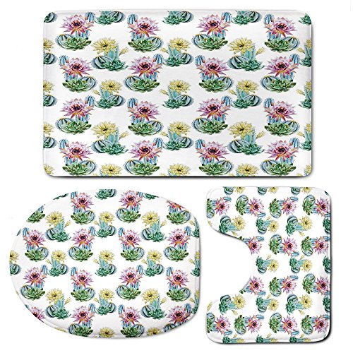 3 Piece Bath Mat Rug Set,Cactus-Decor,Bathroom Non-Slip Floor Mat,Hot-Desert-South-Mexican-Vintage-Plant-Cactus-Flowers-with-Spikes,Pedestal Rug + Lid Toilet Cover + Bath Mat,Pink-Green-and-Blue by iPrint