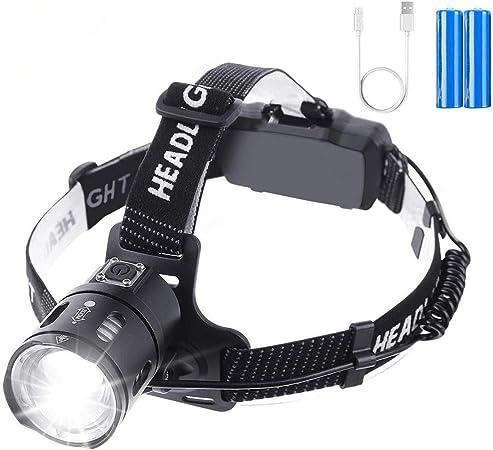OUTERDO linterna frontal LED, linterna frontal Zoom 3500 lúmenes con USB 2 baterías recargables 6400mAh a prueba de agua, linterna frontal para la ...