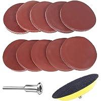 SunTop 60 stuks schuurpapier slijpschijf slijpschijven met Ø76 mm polijstpad adapter, 100-2000 Grits schuurpad Grit…