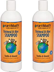 Earthbath Oatmeal & Aloe Pet Shampoo - Vanilla & Almond, Itchy & Dry Skin Relief, Soap-Free, Good for Dogs & Cats, 100% Biodegradable - Give Your Pet That Heavenly Scent - 16 fl. oz, Pack of 2