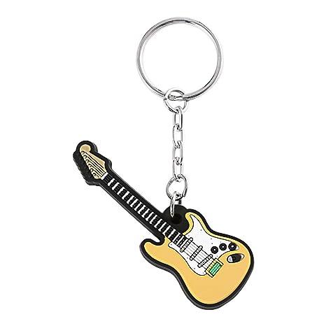 Novedad Guitarra eléctrica Llavero Llaveros de silicona Llaveros Llavero colgante Llaves Llavero decorativo Juguete Titular de