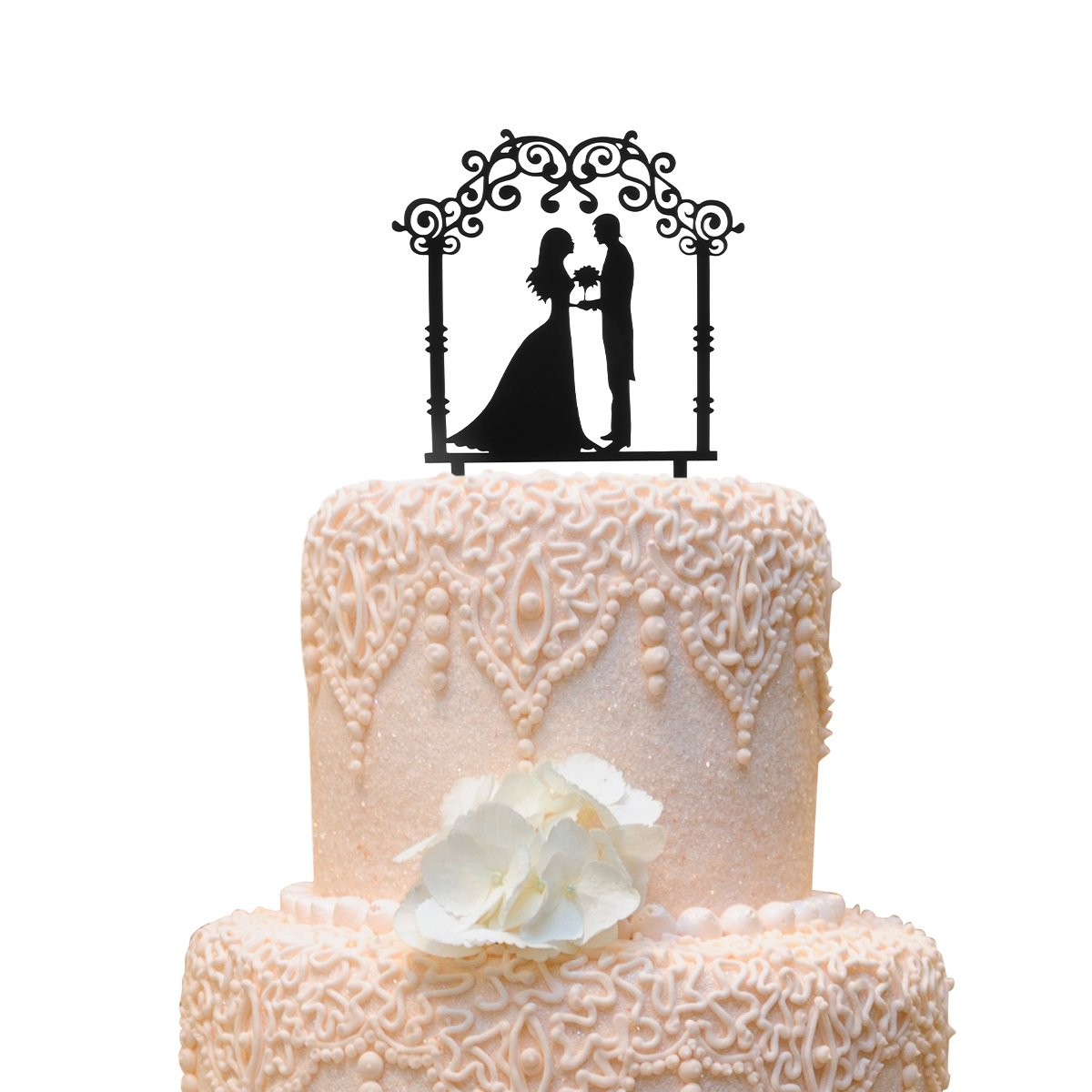 Grinde NO Silhouette Bride and Groom Cake Topper Personalized Wedding Cake Decoration White