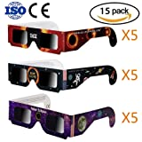 15 Packs Solar Eclipse Glasses – Eclipse Viewing Glasses 2017 CE and ISO Certified Safe Shades for Direct Sun Viewing