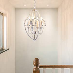 HUITICO Rustic Farmhouse Chandelier, 4-Light Metal Chandelier Fixtures, Distressed White Foyer Light Dining Room Kitchen Chandeliers