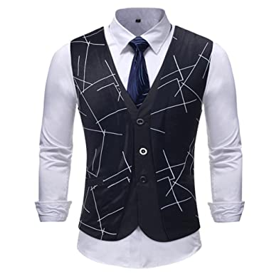 84760133a Amaping Men s V-Neck Sleeveless Stripe Printed Slim Fit Vest Jacket  Business Suit Dress Vest