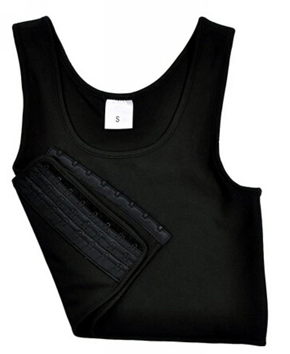 f6ab2f09a4 Uget Les Lesbian Tomboy Short Vest Chest Binder Tops 3XL-Large Black at  Amazon Women's Clothing store: