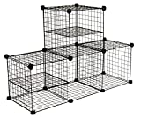 Internet's Best Wire Storage Cubes | Set of 4 | Wire Storage Cubbies | 2 Wire Dividers | Multi Stacking Options | Storage Shelving Organization Toys Towels Binder | Black
