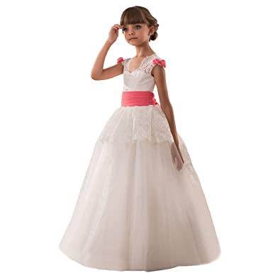 Elegant Cap Sleeves Girls Lace First Communion Dresses Size 2