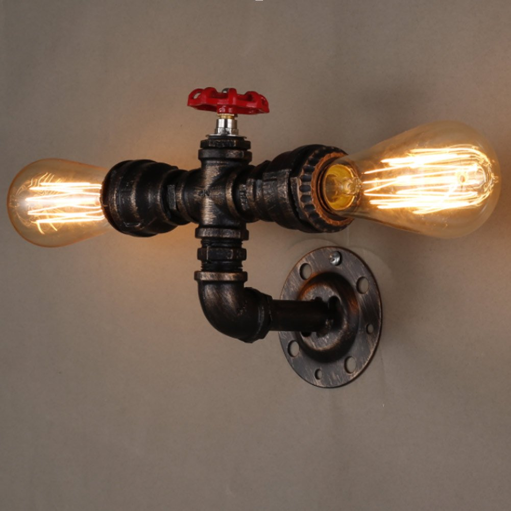 Yuewei®Vintage Retro Wasserrohr Light Retro Nostalgie Wandlampe Décor Wandleuchten23.5177.5cm