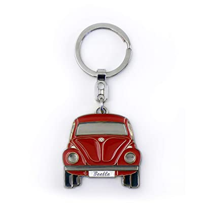 BRISA VW Collection - Volkswagen Beetle Car Bug Key Ring Chain in Embossed Gift Tin, Gift Idea/Fan Souvenir/Retro Vintage Product (Red/Enamel/Chrome): Automotive