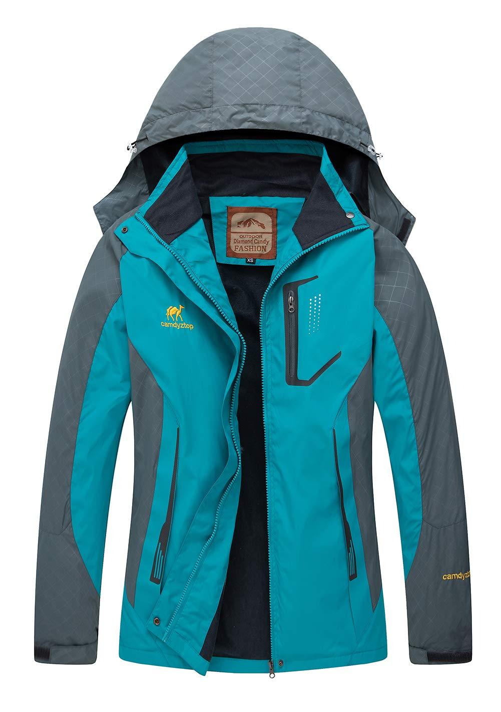Women's Hooded Waterproof Jacket - Diamond Candy lightweight Softshell Casual Sportswear,X-Small,Blue