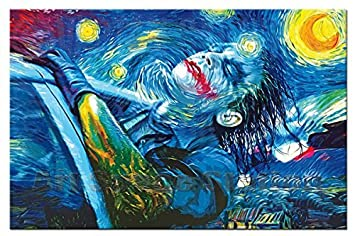 Amazon No Frame Starry Night Joker Abstract Oil Painting