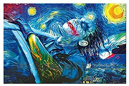 639d44267597 Amazon.com  No Frame Starry Night Joker Abstract Oil Painting ...