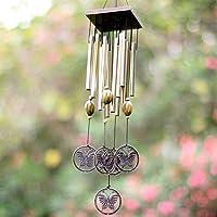 SunFire rüzgar çanı asın Home bahçe Decor kelebek bronz dış mekan Tube 21in