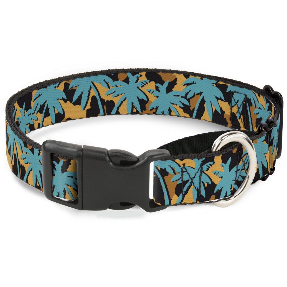 Buckle-Down MGC-W34262-S Palm Tree Silhouette Leopard Brown Turquoise Martingale Dog Collar, Small