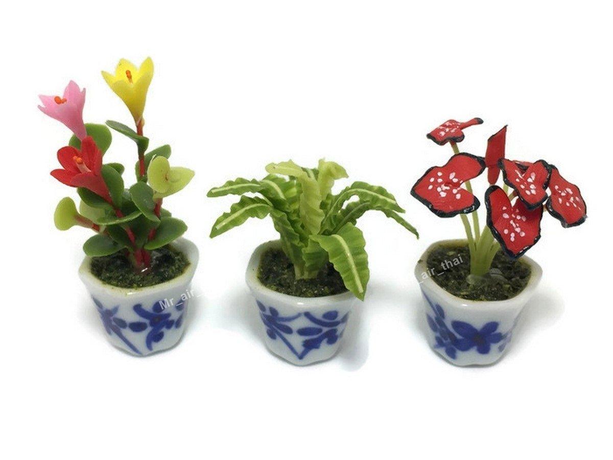 3pc Miniature Flower Clay Dollhouse Fairy Garden Mini Plant Trees Ceramic Orchid Paint Furniture #060