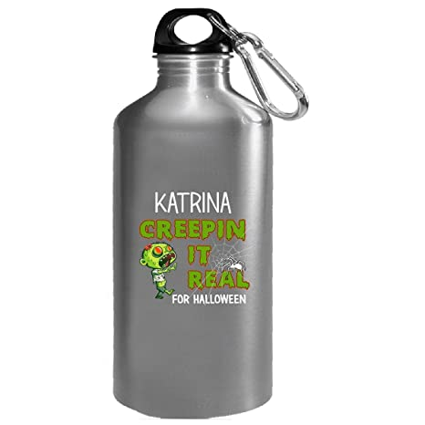 katrina creepin it real funny halloween costume gift water bottle