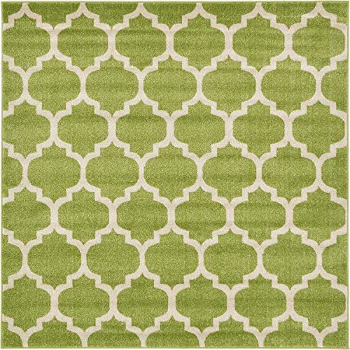 Unique Loom Trellis Collection Moroccan Lattice Light Green Square Rug 6 0 x 6 0