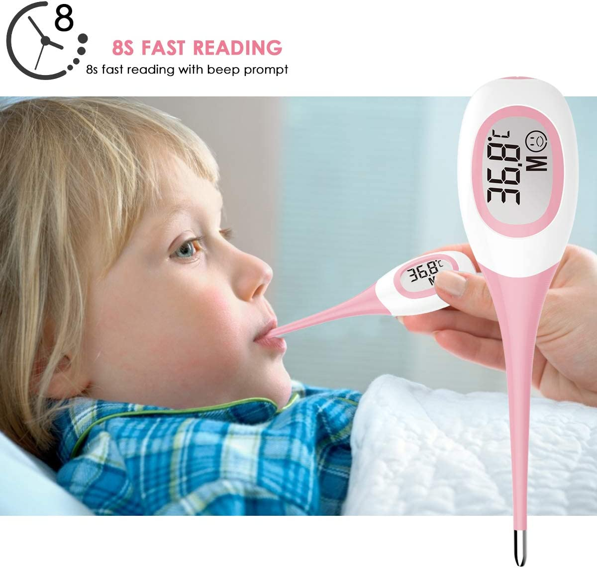 Gojiny Digital Body Thermometer Oral Temperature Thermometer 20s Underarm Fast Read Temperature Meter for Infants Babies Toddlers Kids