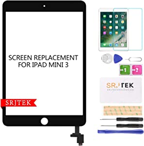 Screen Replacement for IPad Mini 3-SRJTEK Touch Screen Digitizer Glass A1599 A1600,Repair Parts with IC Chip Assembly Kits,Tempered Glass Included,Black