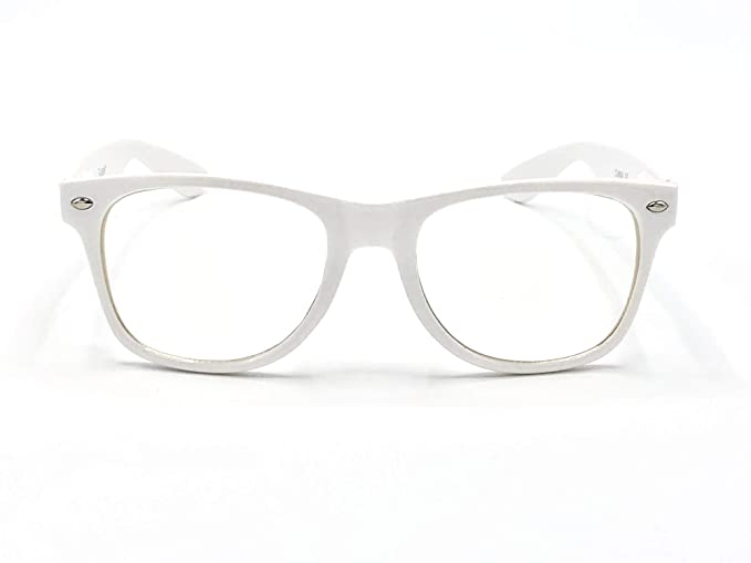 a3ff867307 Amazon.com  Goson Clear Lens Eye Glasses Non Prescription Glasses Frames  For Women and Men - Square Nerd Hipster Glasses - White Frame  Clothing