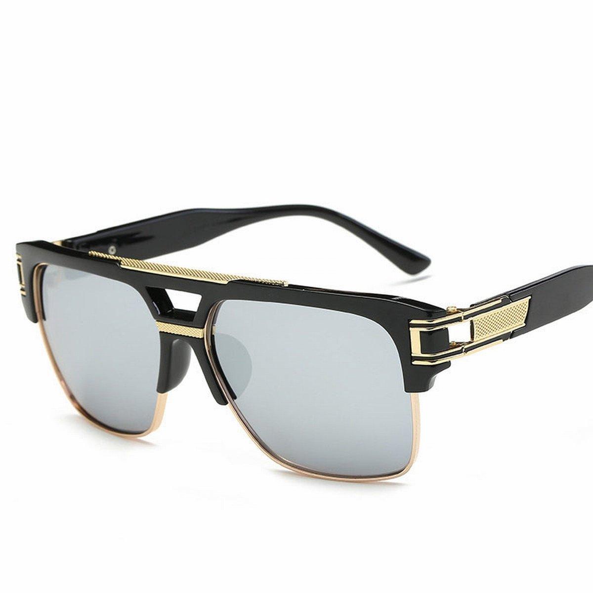 sonnenbrille Männer und frauen seitenrahmen Retro helle farbe reflektierende sonnenbrille Gläser Spiegel schwarzer rahmengradient grau BC4s0lBK