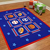 All Star Sports Patterned Area Rug, Graphic Basketball Baseball Soccer Football Themed, Rectangle Indoor Hallway Doorway Living Area Bedroom Cabin Carpet, Modern Kids Design, Blue, Red Size 84'' x 59''