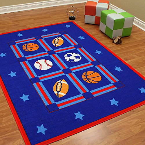 All Star Sports Patterned Area Rug, Graphic Basketball Baseball Soccer Football Themed, Rectangle Indoor Hallway Doorway Living Area Bedroom Cabin Carpet, Modern Kids Design, Blue, Red Size 84'' x 59'' by SE
