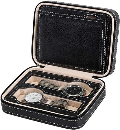 Estuche para caja de exhibición de relojes Negro portátil 4 cuadrículas de viaje Caja de reloj de cuero de la PU Cremallera Caja de almacenamiento Reloj Organizador para cajas porta relojes unisex: