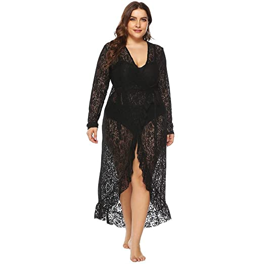 254b20b2a0e Pitauce Women Sexy V-Neck Beach Wear Tops Plus Size Floral Lace Swimwear  Dresses Swimsuit