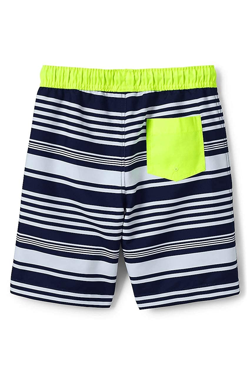 2afacb6a0eaa7 Amazon.com: Lands' End Boys Slim Print Swim Trunks: Clothing