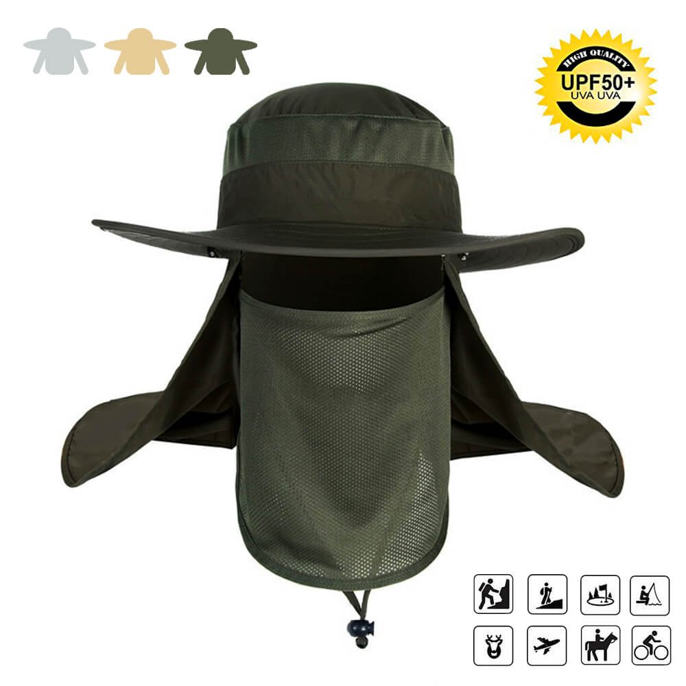 a7f1449fbf8 ✅Full Protection  neck face flap with wide brim ✅Windproof   UV protection    Quick-drying,UPF 50+ ✅Removable  3 sections and easy to assemble or carry