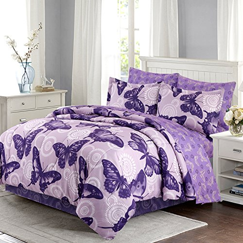 HollyHOME Butterfly 6-Piece Bed in Bag Comforter Set, (Butterfly Comforter Sets)