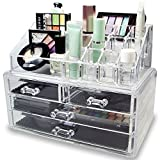 YAMMASTORE Multi-Check & 4 Drawers Integrated Acrylic Makeup Case Cosmetics Organizer Transparent
