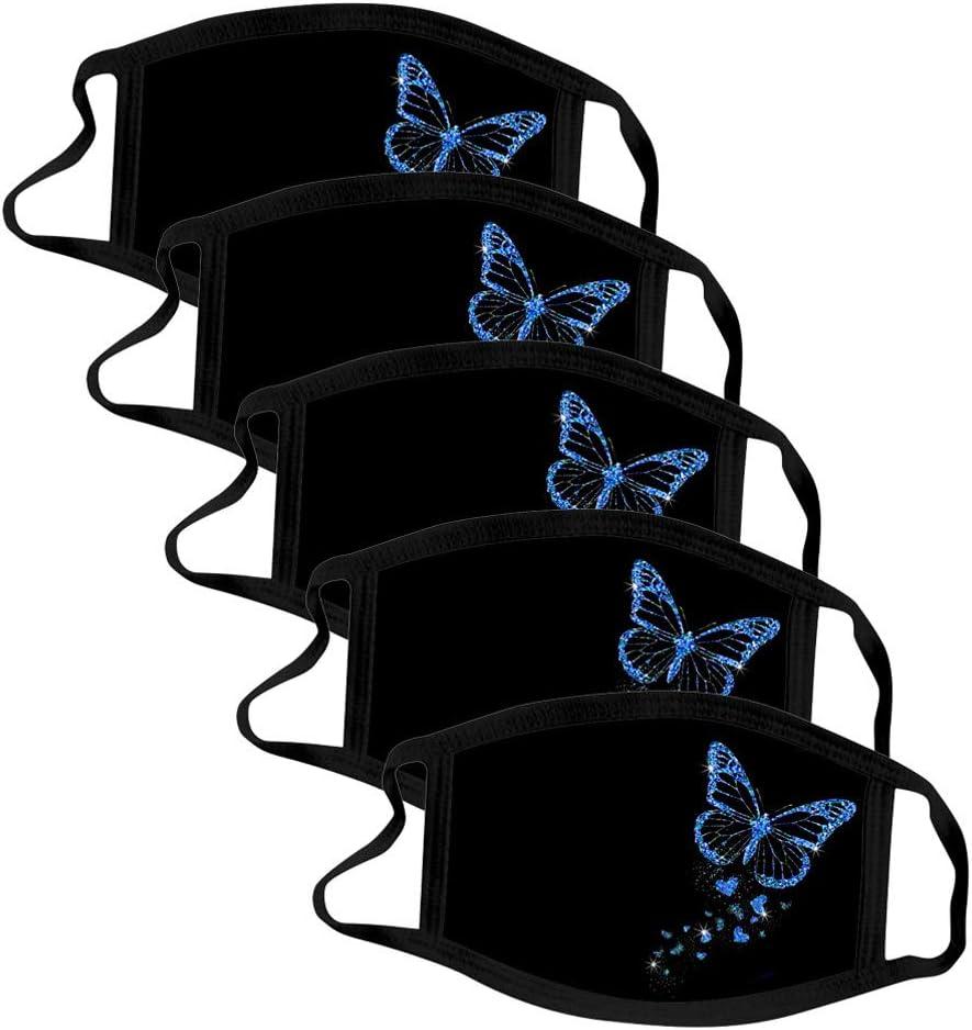 Jasinto 5 Pcs Baumwolle Mundschutz f/ür Damen Herren Waschbar Nasen und Mund Schutz Bedeckung Schmetterling Drucken Anti-Staub Multifunktionstuch Bandana Halstuch Nasenschutz Gesichtsschutz Blau