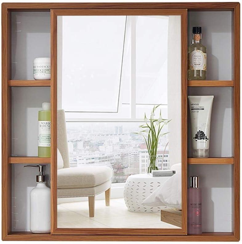 HIZLJJ Cuarto de baño con espejo pared Gabinete de almacenamiento con ajustable Estante, Botiquín de madera de pared izquierda y derecha for puertas corredizas Inicio Baño colgar de la pared del gabin