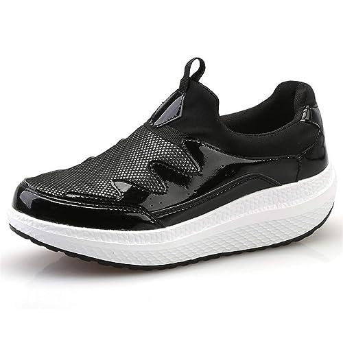 Mujeres Plataforma Plana Zapatos Casuales Primavera OtoñO Malla Transpirable Lentejuelas Slip-On Cerdo Split Tacones Medios Confort Mocasines Zapatos: ...