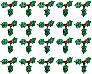 Artibetter 100pcs Mini Triple Leaf Holly Berries Embellishments for Holiday Christmas Wreath Arrangement Gift Tag and Card Making (Green, 3CM)