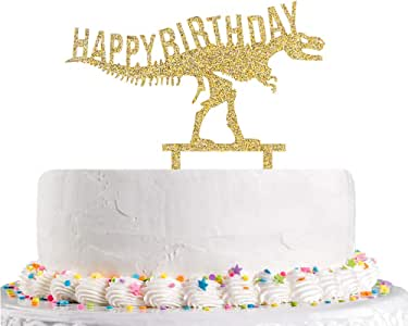 Happy Birthday Cake Topper with Dinosaur,Gold Glitter Happy 1st 2nd 3rd 4th 5th 10th Children's Birthday Party Decoration Supplies(Acrylic)