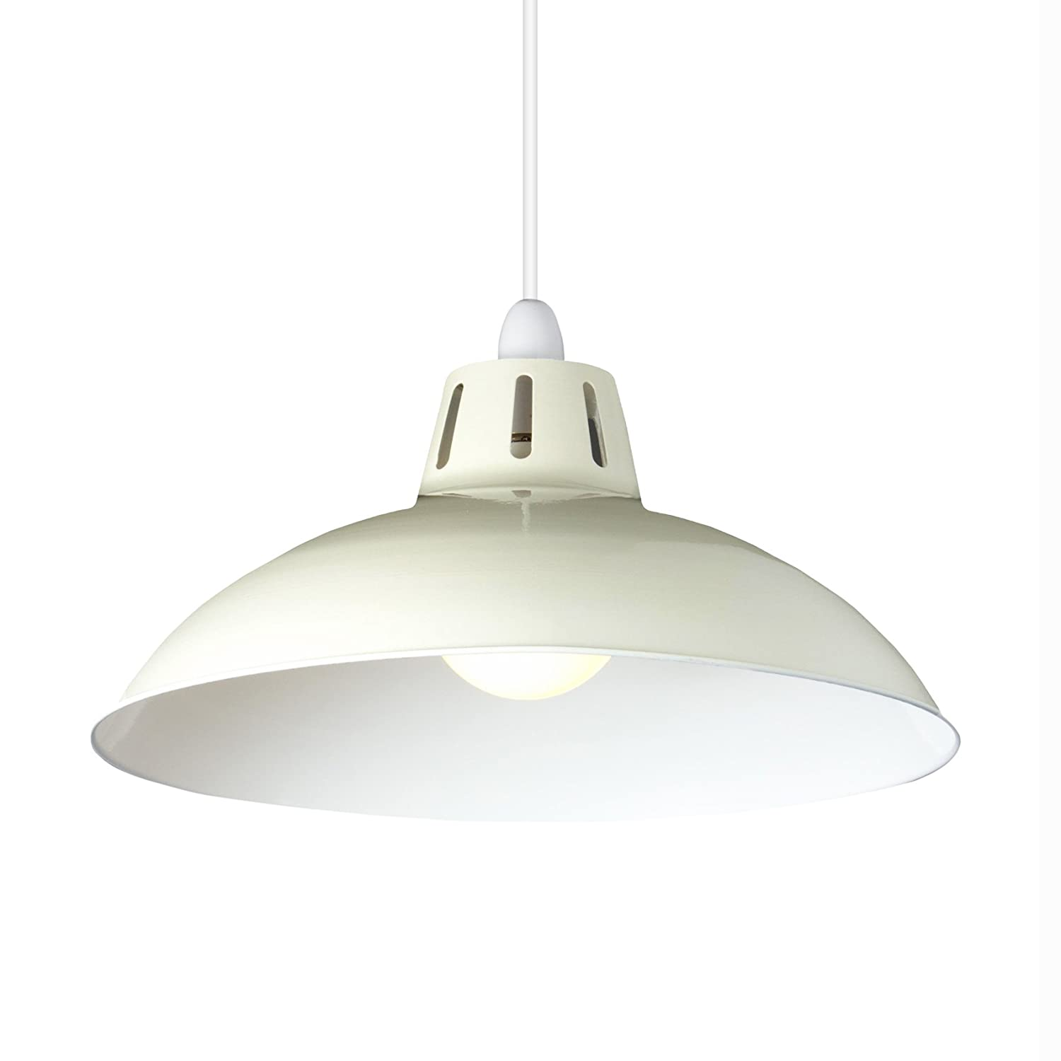 Large cut out dome metal lighting pendant shades cream - Large Modern Cut Out Dome Glossy Metal Ceiling Light Fitting Pendant Shade Cream Amazon Co Uk Lighting