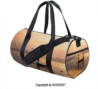 Crossbody Bags for Women Men,Fishermen at Sunrise with Net ...