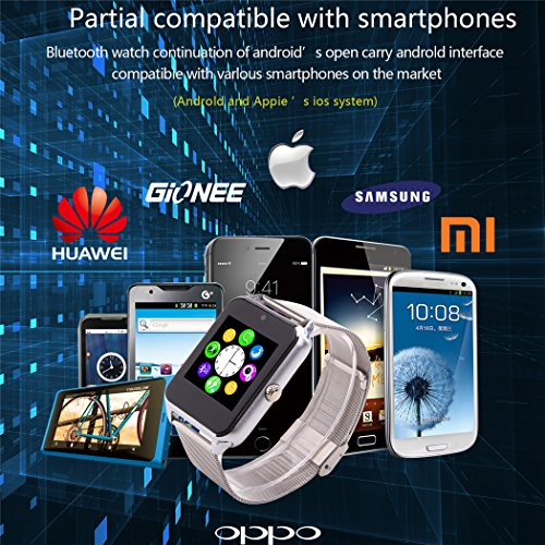 MSRM Water Splash Resistant Smart Watch Anti Lost and Hand free for Android 4.3 above and iPhone 5s/6/6s/7/7s (Partial Functions) (GB08 Silver)