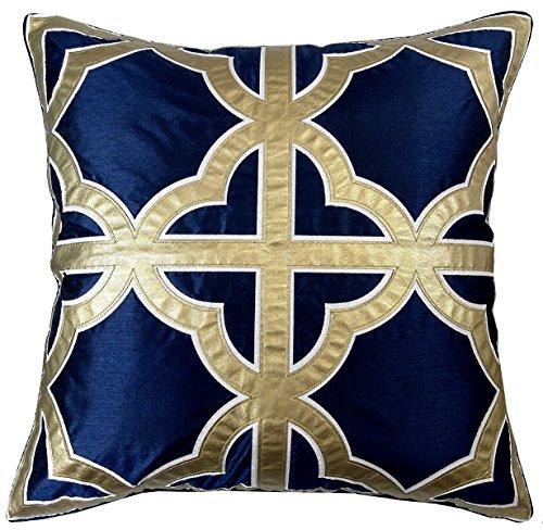 Edie 24X24 Applique Decorative Pillow  Large  Navy Gold