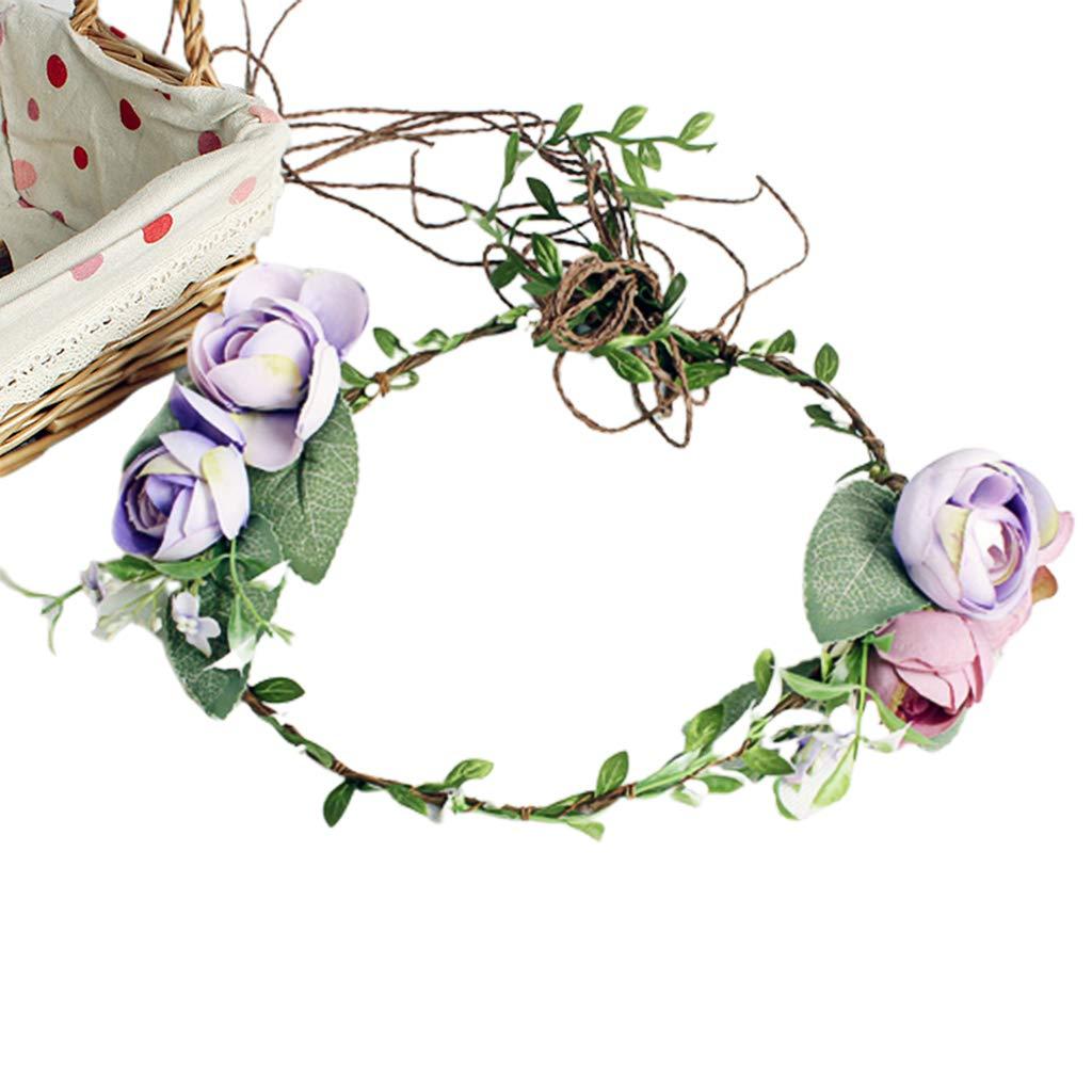 Imitation Floral Rattan Ribbon Hair Wreath,Adjustable Garland Headband for Wedding Bridal Girl Vacation Hair Accessories