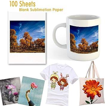 Papel de sublimación, 100 hojas de papel de transferencia de tinta por sublimación, 8.27 pulgadas x 11.7 pulgadas para transferencia de calor, taza, camiseta, tela liviana, bricolaje: Amazon.es: Oficina y papelería