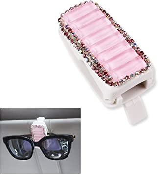 White EING Fashion Bling Rhinestones Car Sun Visor Glasses Ticket Clip Holder Accessories for Girls /& Women